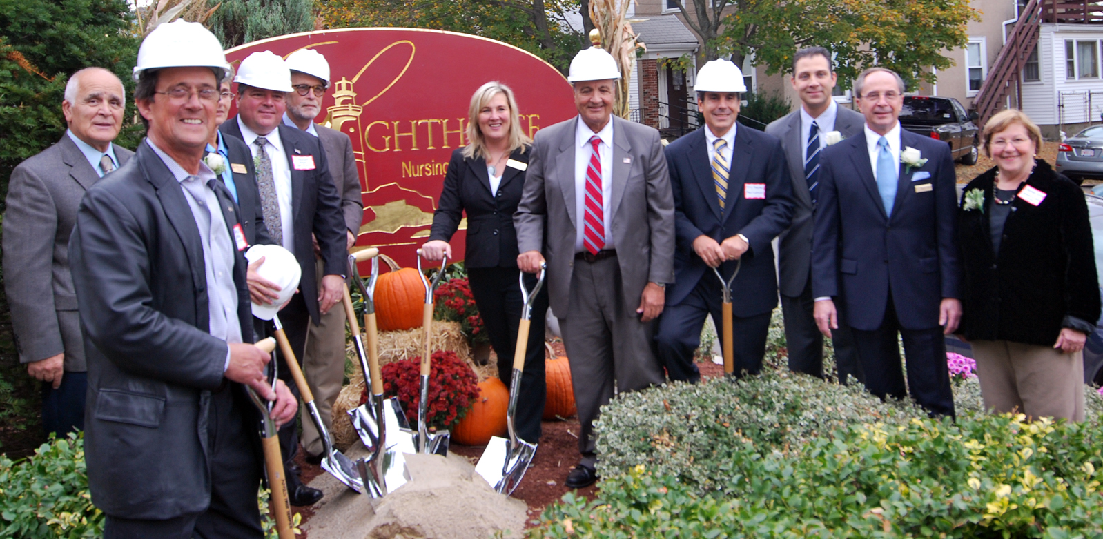 From L to R:  City Councillor Anthony Zambuto; Fred Sannella, School Committee; Michele Figucia, Nursing Home Administrator; City of Revere Mayor Dan Rizzo; Roger Marks; Lisa Benevento; Councillor John Correggio; Nauset Construction President, Anthony Papantonis; Senator Anthony Petruccelli; Guardian Foundation, Inc., President and CEO, Gregory Grove; and Barbara Bishop, Representing Massachusetts Speaker of the House Robert DeLeo.