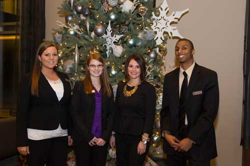 (L to R)Emily Rodricks, Concierge, Simpson Property Group; Beth Bronson, Assistant Manager, Simpson Property Group; Gabby Strahl, Community Manager Simpson Property Group; and Mitch Haley, Leasing Consultant, Simpson Property Group