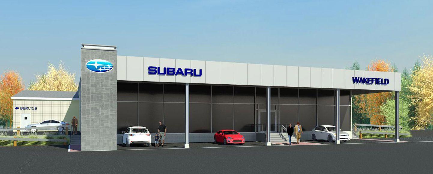 Rendering of Subaru Dealership. Courtesy  of Bruce Ronayne Hamilton Architects