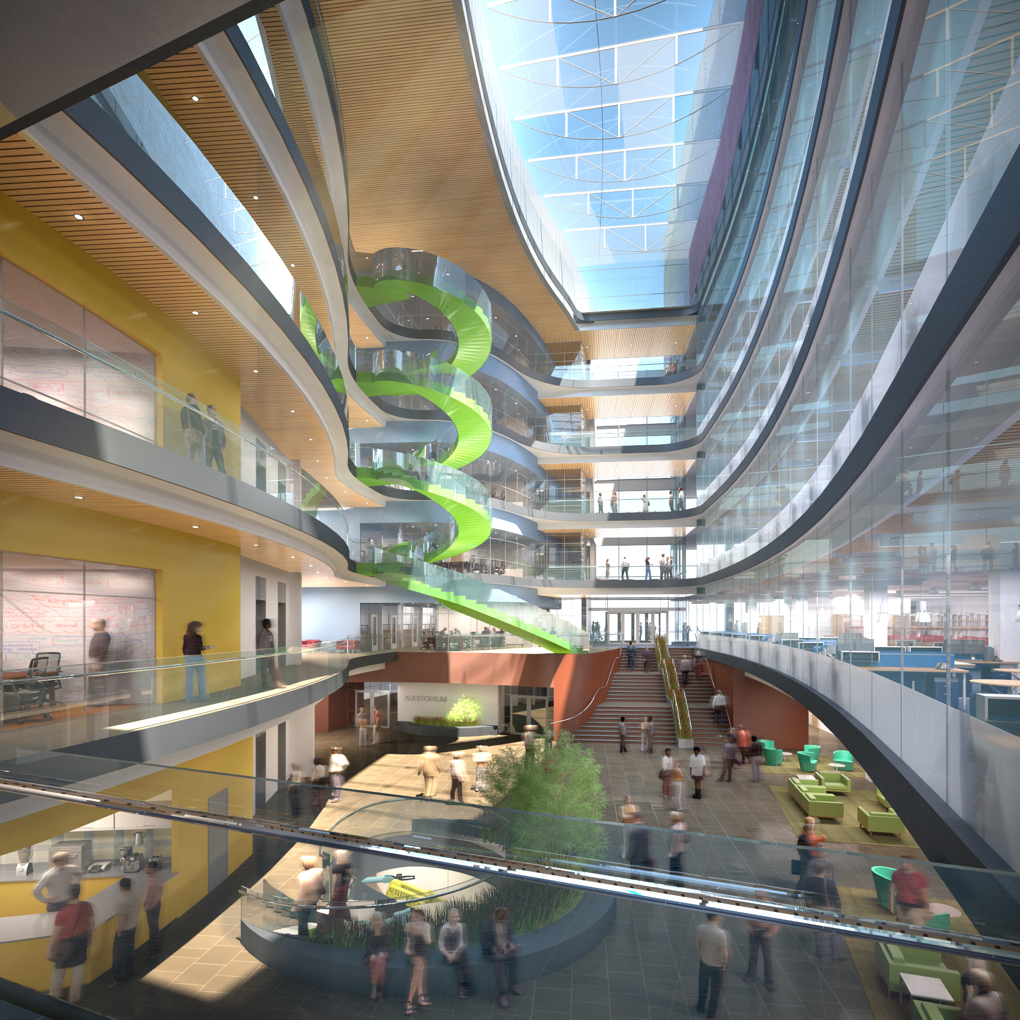 The building's research and office wings will both open to a central atrium that is designed to promote collaborative research and learning. - Copyright Payette