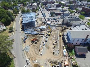 Aerial of Brightview Senior Living construction site in Wakefield, MA