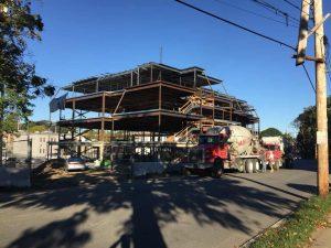 Steel frame underway at Brighttivew Senior Living in Wakefield, MA