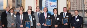 (l-r) The Bedford Family Center project team, pictured above, was the recipient of the CBC's 3rd annual Project Team of the Year award. L-R: Fred Saehrig, Brian Wetzel, Doug Graham, Luke Glendenning, Daniel Kasica , Ty Tragellas, Chad McCullough, Steve Halstead, Shin Miyoshi, Kevin Herrick, Eric Melingonis.