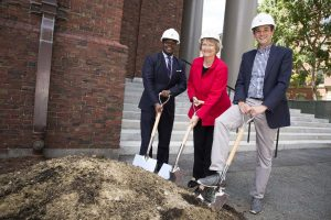 The renovation of Memorial Church gets underway with a ground breaking ceremony attended by Plummer Professor of Christian Morals and Pusey Minister in the Memorial Church Jonathan Walton (from left), Harvard University President Drew Faust, and Edward Jones. Stephanie Mitchell/Harvard Staff Photographer