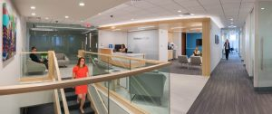 Robinson+Cole's new conference center with reception area is the showcase of the office