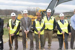 (l-r) Senior PM Phil Beati; Project Exec Mike Kearns; Superintendent Jonathan Seymour; Assistant PM Douglas Flink; and VP Ron Simoneau.