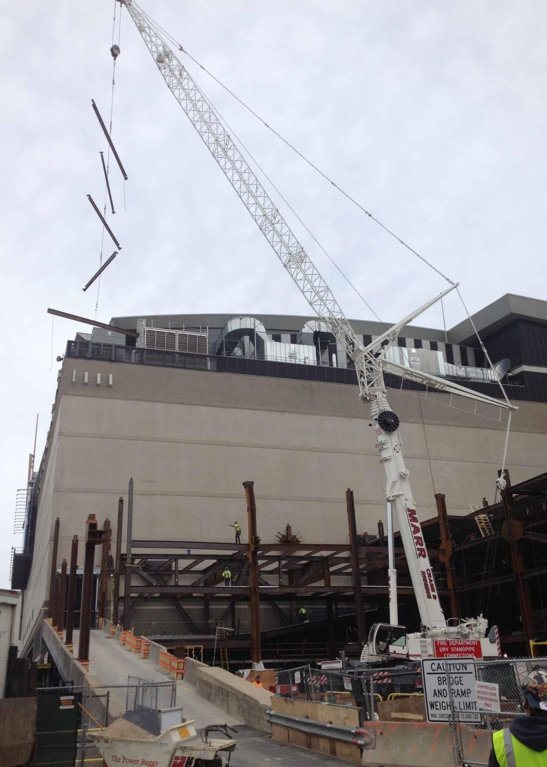 Marr's 300-ton Leibherr lifts steel over the TD Garden elephant walk