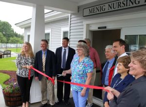 (l-r) Ashley Lincoln, Gifford's Director of Development, Marketing & PR, Lt. Gov. Phil Scott, Al Gobeille, Green Mountain Care Board, Brooks Chapin, Menig's Director of Nursing Dr. Lou DiNicola, Pediatrician and Campaign Co-Chair Doug Pfohl, Gifford's Director of Facilities Linda Minsinger, Executive Director of Gifford Health Care Rebecca O'Berry, Gifford's Vice President of Operations & Surgical Services