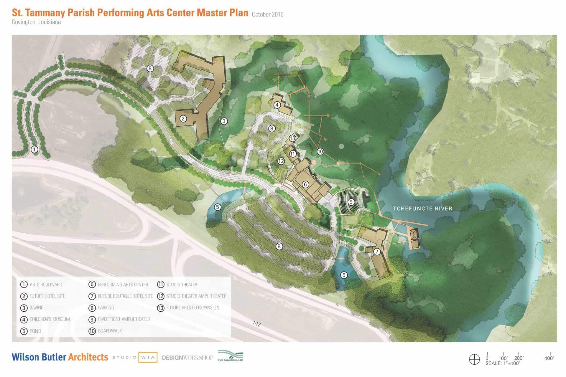 St. Tammany Parish Cultural Arts District Site Master Plan/Illustration done by Design Workshop