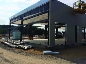 Steel Erection at the new Autoserv Dealership Showroom in Belmont, NH
