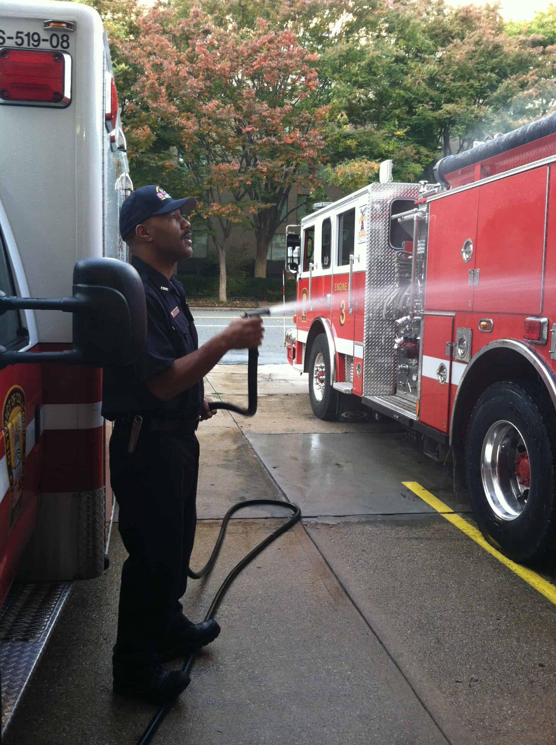 fireman washing trucks on PFC